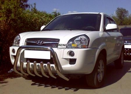 Hyundai Tucson 2004-2010г.в.-Дуга передняя низкая d-60 с защитой картера d-53